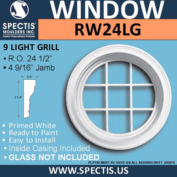 "RW24LG 24"" Decorative Round Window with 9 Lite Grille"