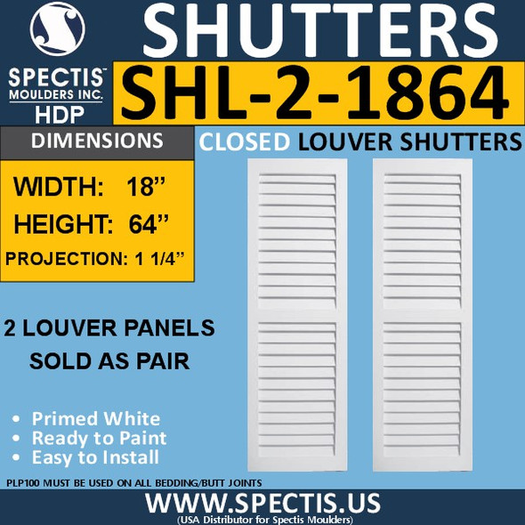 SHL-2 1864 2 Panel Closed Louver Shutters 18 x 64