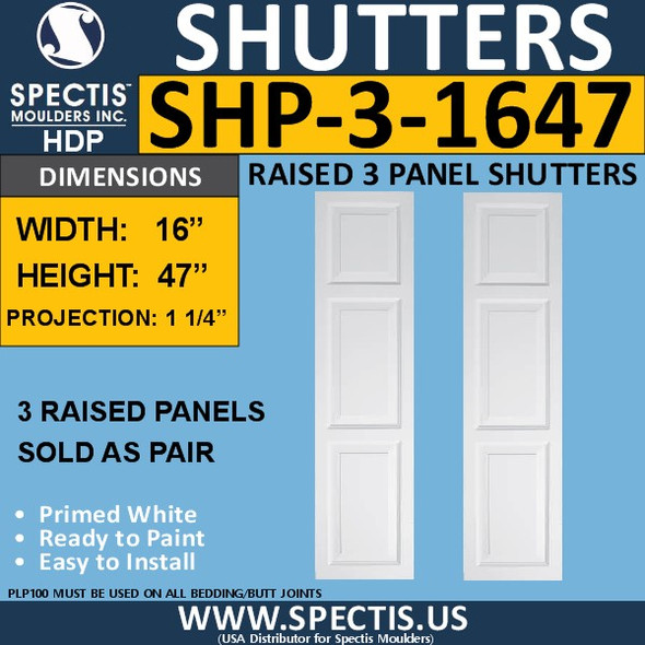 SHP-3 1647 Polyurethane Exterior Shutters - 3 Raised Panels 16 x 47