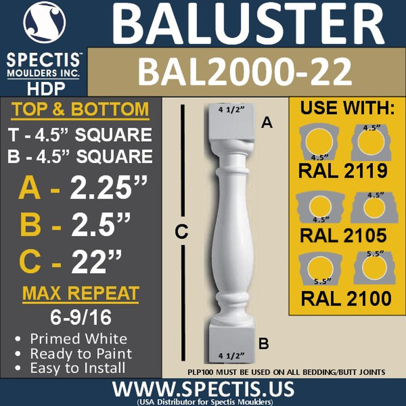 "BAL2000-22 Urethane Baluster or Spindle 4 1/2""W X 22""H"