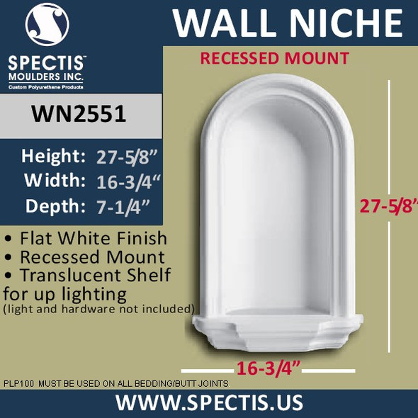 """WN2551 In-Wall Niche with translucent shelf for light 15/12"""" x 27 1/2"""""""