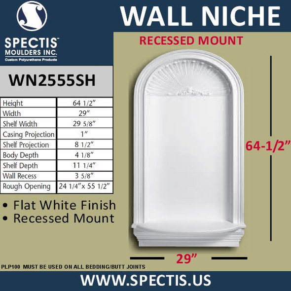 """WN2555SH In-Wall Niche Flat White Finish with Shell Top 29"""" x 64 1/2"""""""