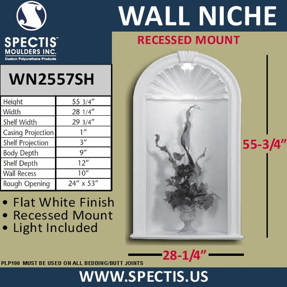 """WN2557SH In-Wall Niche Flat White Finish with Light 28 1/4"""" 55 3/4"""""""