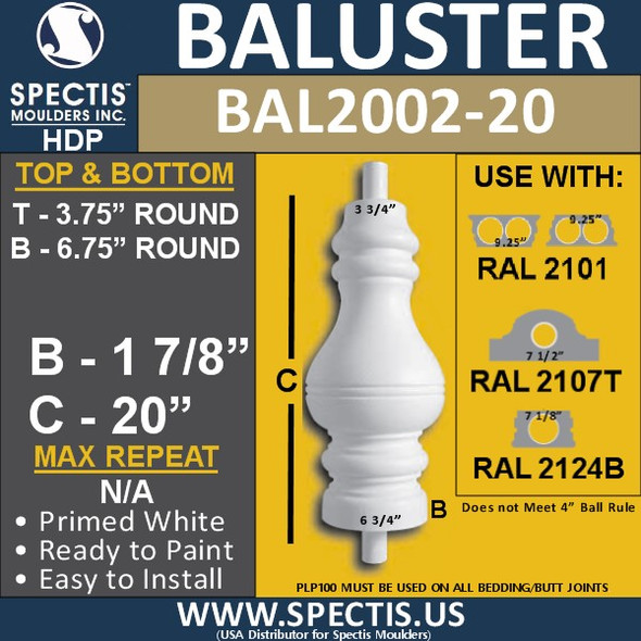 "BAL2002-20 Urethane Baluster or Spindle 3 3/4""W X 20""H"