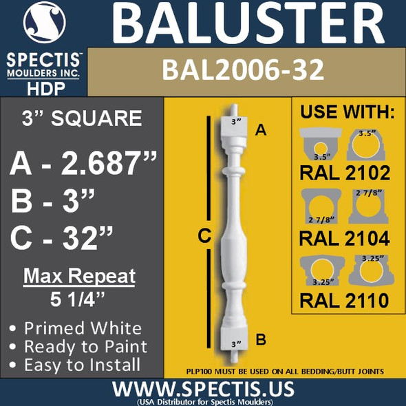 """BAL2006-32 Urethane Baluster or Spindle 3""""W X 32""""H"""
