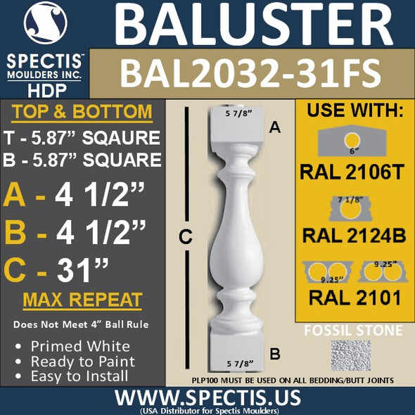 "BAL2032-31FS Fossil Stone Baluster 5 7/8""W X 31""H"