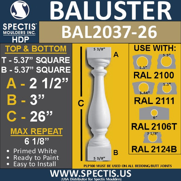 "BAL2037-26 Spectis Baluster or Spindle 5 3/8"" x 26"""