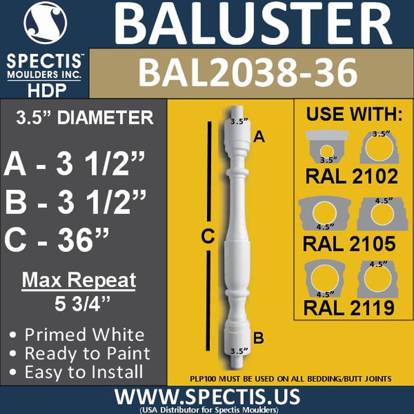 "BAL2038-36 Spectis Baluster or Spindle 3 1/2"" x 36"""