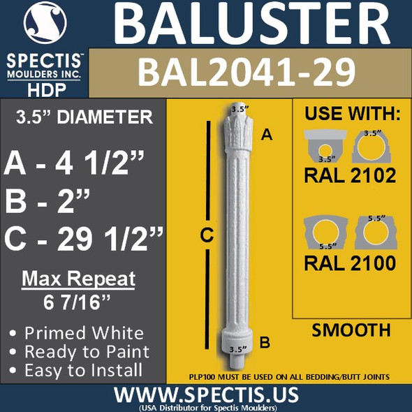 "BAL2041-29 Spectis Crown Top Baluster 3 1/2"" x 29 1/2"""