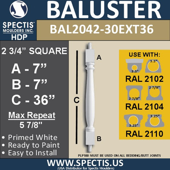 "BAL2042-30EXT36 Spectis Baluster or Spindle 2 3/4"" x 36"""