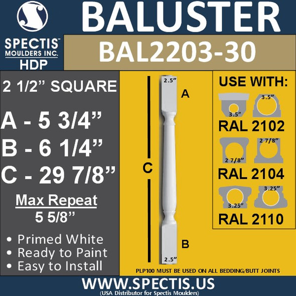 "BAL2203-30 Traditional Urethane Baluster 2 1/2"" x 29 7/8"""
