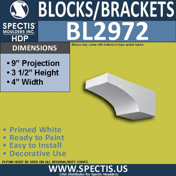 "BL2972 Eave Block or Bracket 4""W x 3.5""H x 9"" P"