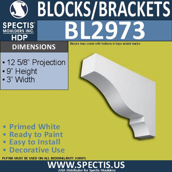 "BL2973 Eave Block or Bracket 3""W x 9""H x 12.63"" P"