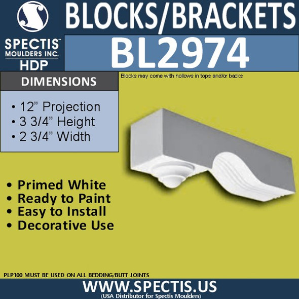 "BL2974 Eave Block or Bracket 2.75""W x 12""H x 3.75"" P"
