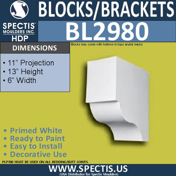 "BL2980 Eave Block or Bracket 6""W x 13""H x 11"" P"