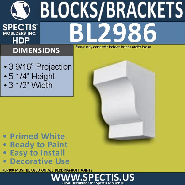 "BL2986 Eave Block or Bracket 3.5""W x 5.25""H x 3.56"" P"
