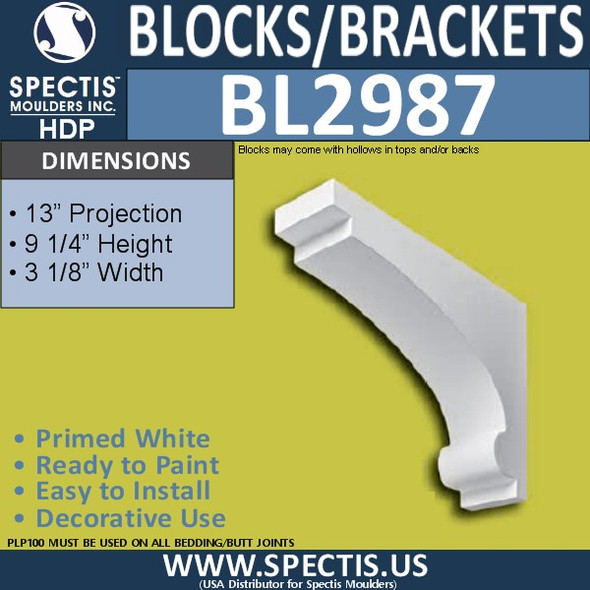 "BL2987 Eave Block or Bracket 3.13""W x 9.25""H x 13"" P"