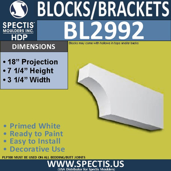 "BL2992 Eave Block or Bracket 3.25""W x 7.25""H x 18"" P"