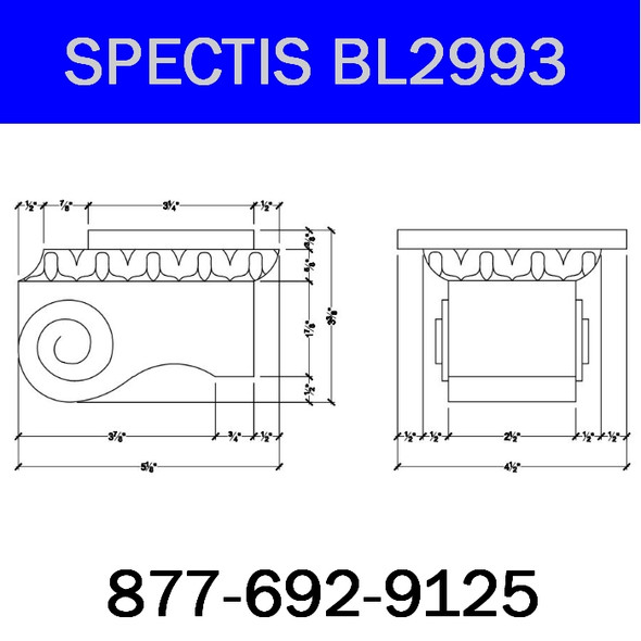 """BL2993 Spectis Eave Block or Bracket 4.5""""W x 3.38""""H x 5.13"""" Projection"""