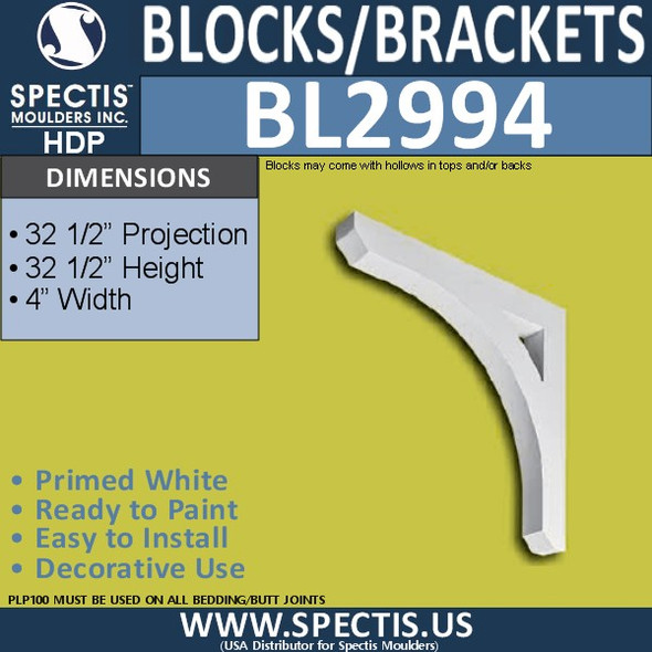 "BL2994 Eave Block or Bracket 4""W x 32.5""H x 32.5"" P"