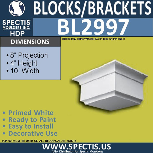 "BL2997 Eave Block or Bracket 10""W x 4""H x 8"" P"