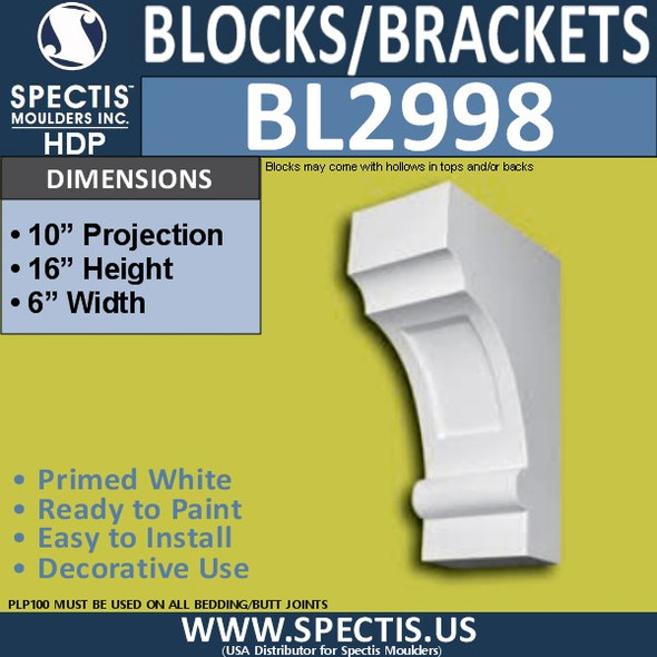 "BL2998 Eave Block or Bracket 6""W x 16""H x 10"" P"