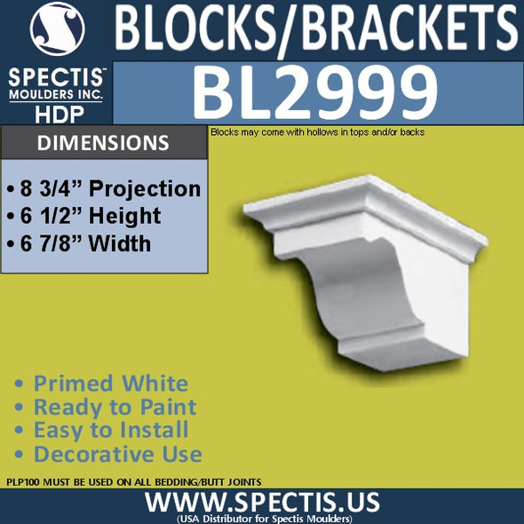 "BL2999 Eave Block or Bracket 7""W x 6.5""H x 8.75"" P"