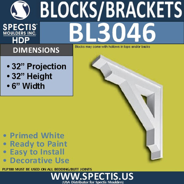 "BL3046 Eave Block or Bracket 6""W x 32""H x 32"" P"