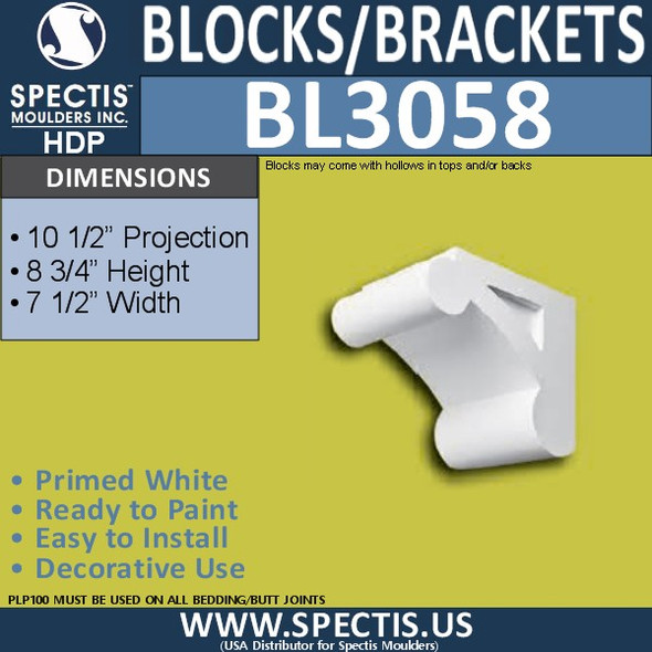 "BL3058 Eave Block or Bracket 7.5""W x 10.5""H x 8.75"" P"