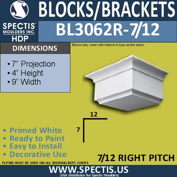 "BL3062R-7-12 Eave Block or Bracket 9""W x 4""H x 7"" P"