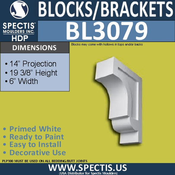 "BL3079 Eave Block or Bracket 6""W x 19.38""H x 14"" P"