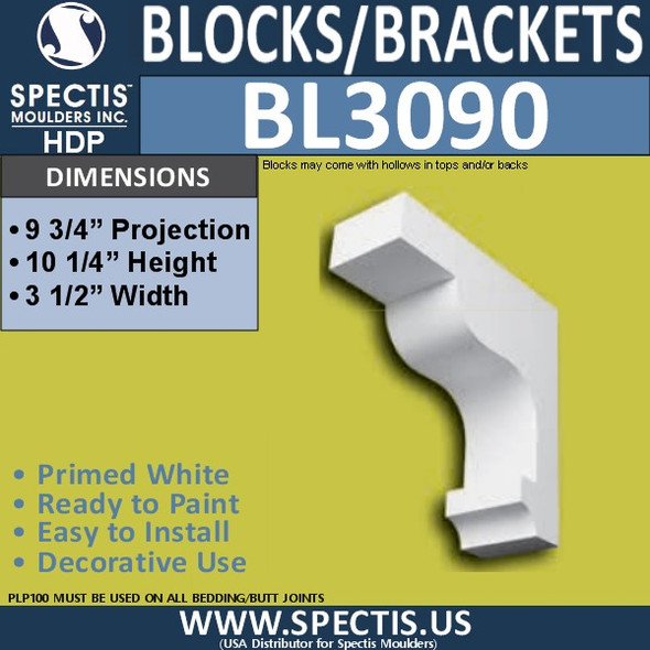 "BL3090 Eave Block or Bracket 3.5""W x 10.25""H x 9.75"" P"