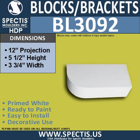 "BL3092 Eave Block or Bracket 3.75""W x 5.5""H x 12"" P"