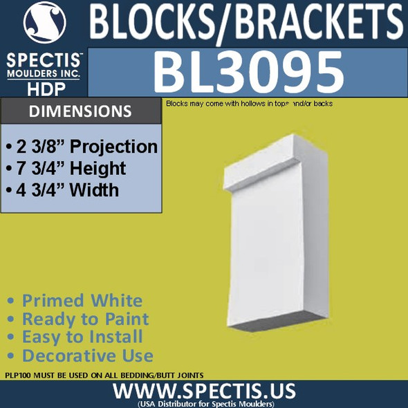 "BL3095 Eave Block or Bracket 4.75""W x 7.75""H x 2.38"" P"
