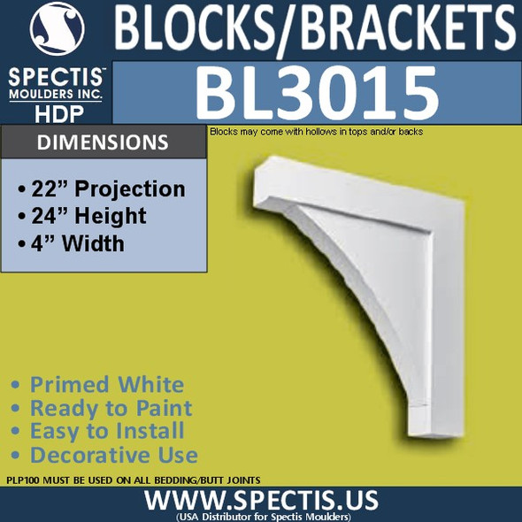 "BL3015 Eave Block or Bracket 4""W x 24""H x 22"" P"
