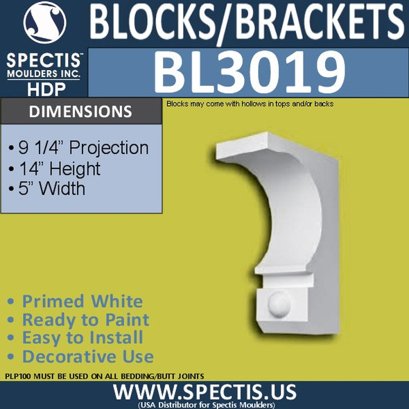 "BL3019 Eave Block or Bracket 5""W x 14""H x 9.25"" P"