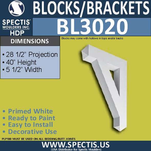 "BL3020 Eave Block or Bracket 5.5""W x 40""H x 28.5"" P"