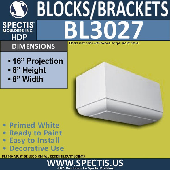 "BL3027 Eave Block or Bracket 8""W x 8""H x 16"" P"
