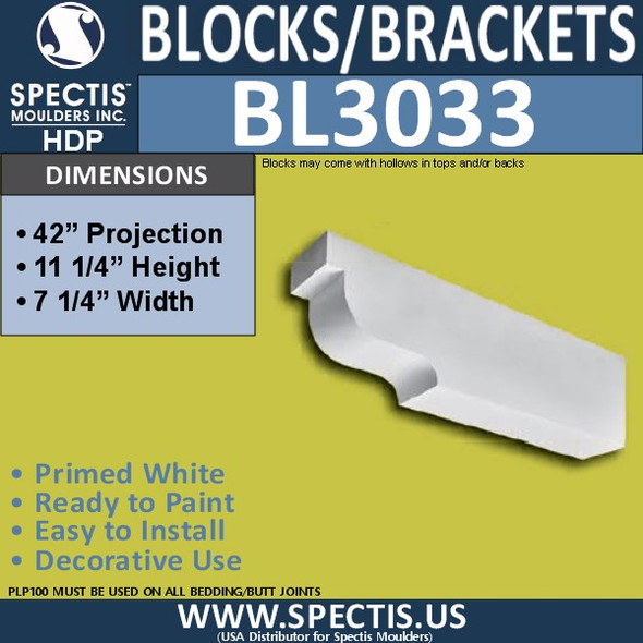 "BL3033 Eave Block or Bracket 7.25""W x 11.25""H x 42"" P"