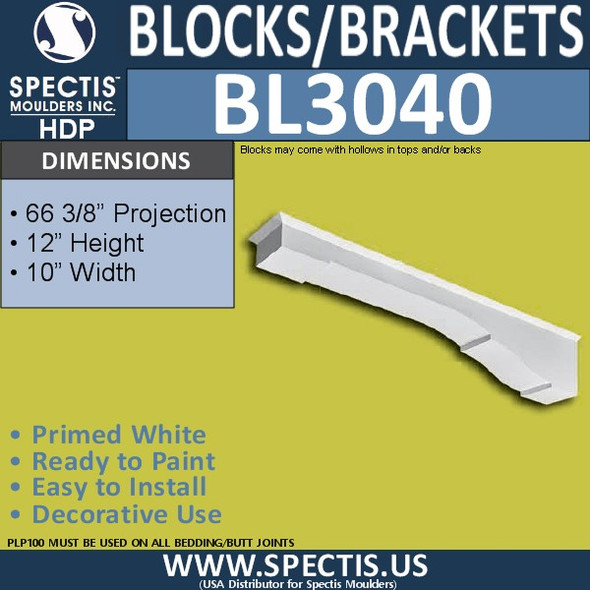"BL3040 Eave Block or Bracket 10""W x 12""H x 66.38"" P"