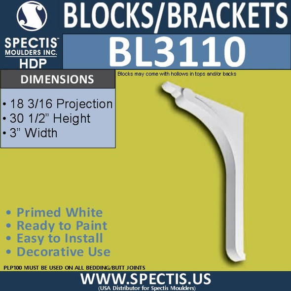 "BL3110 Eave Block or Bracket 3""W x 30.5""H x 18.33"" P"