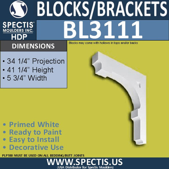 "BL3111 Eave Block or Bracket 5.75""W x 41.25""H x 34.25"" P"