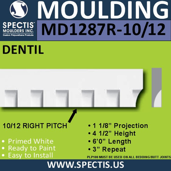 "MD1287 Molding 10/12 Right Pitch Dentil Trim 1 1/8""P x 4 1/2""H x 144""L"