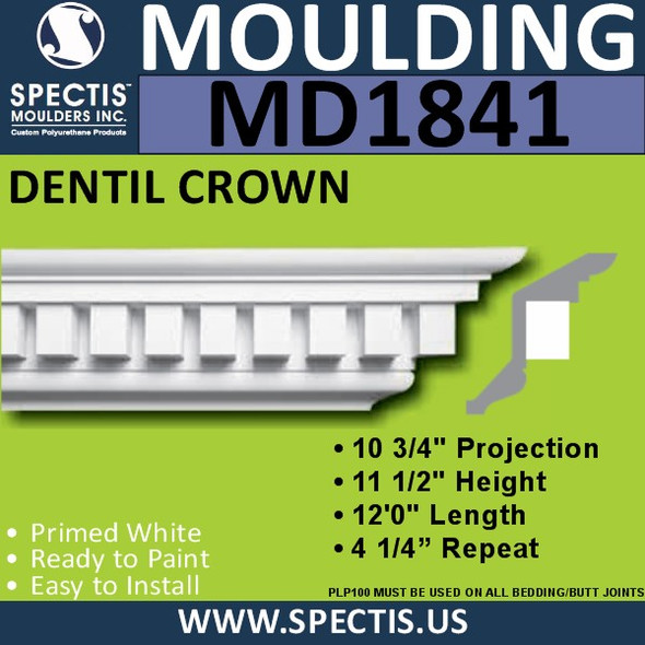 MD1841 Dentil Crown Molding Trim decorative spectis urethane