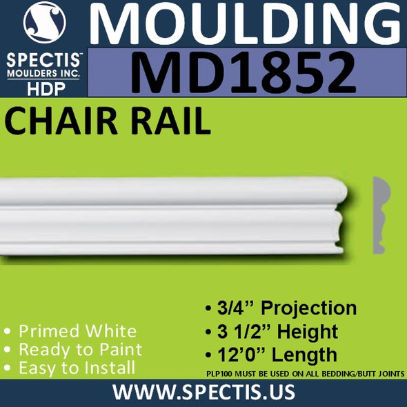 MD1852 Chair Rail Molding Trim decorative spectis urethane