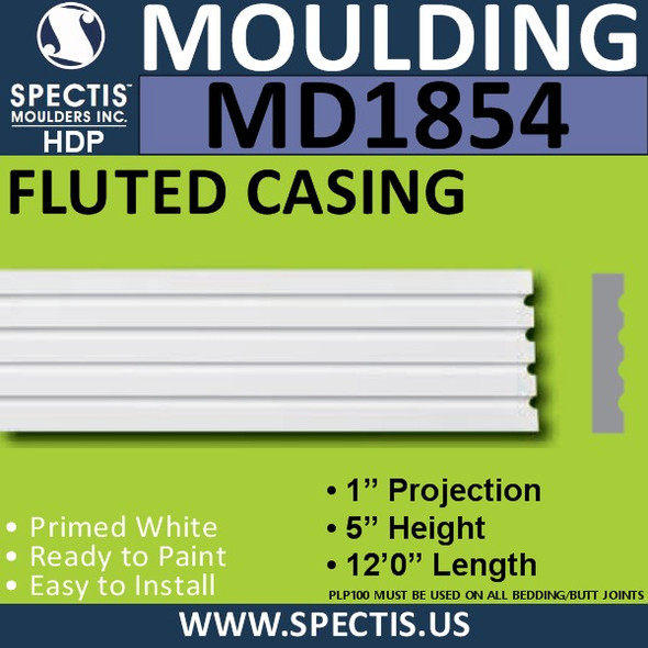 MD1854 FLUTED CASING Molding Trim decorative spectis urethane