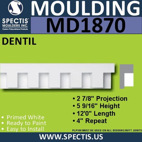 MD1870 Dentil Molding Trim decorative spectis urethane