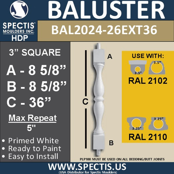 "BAL2024-26EXT36 Urethane Baluster or Spindle 3""W X 36""H"