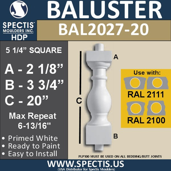 "BAL2027-20 Urethane Baluster or Spindle 5 1/4""W X 20""H"