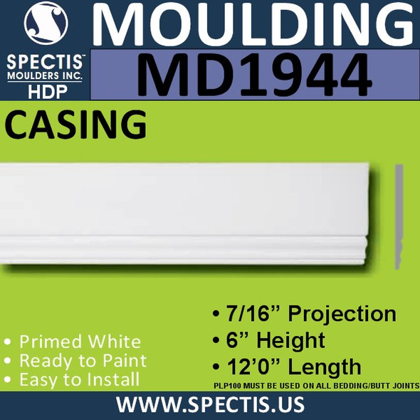 MD1944 Door CASING Molding Trim decorative spectis urethane